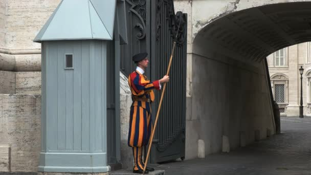 VATICAN STATE- SEPTEMBER 30, 2015: side view of a swiss guard on duty at saint peter's square in rome, italy