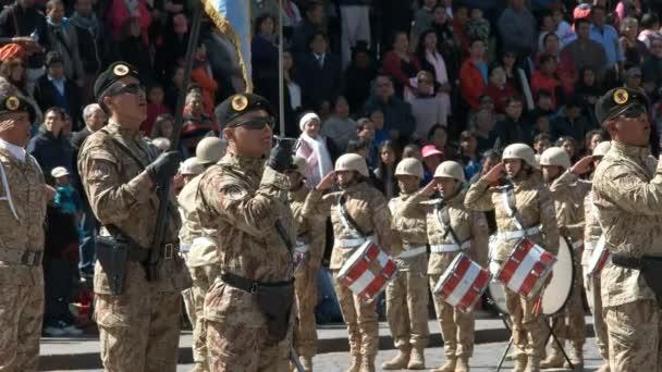 CUSCO, PERU- JUNE 22, 2016: soldiers singing an anthem at a flag raising ceremony in cuzco, peru
