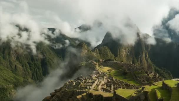 time lapse of perus famous lost inca city of machu picchu on a misty morning