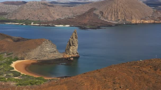 zoom in shot of pinnacle rock  from the lookout at isla bartolome in the galapagos islands