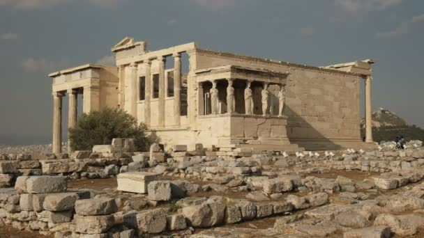 wide angle shot of the erechthion in athens, greece