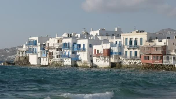 Nachmittagsaufnahme des kleinen venezianischen Bezirks auf der Insel Mykonos