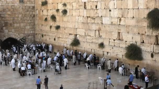 magas szögből széles kilátás a jajgatás fal széles Jeruzsálemben