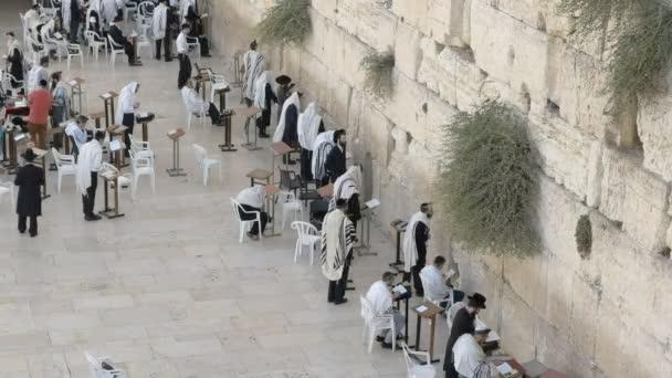 Jeruzsálem, Izrael-szeptember 21, 2016: nagy látószögű nézet a sétány fölött a jajgatás fal Jeruzsálemben