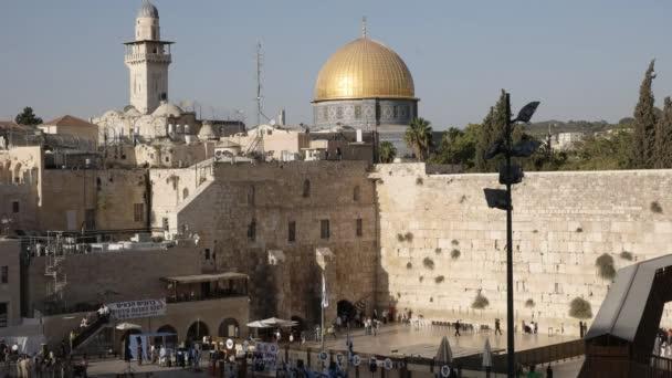 Jeruzsálem, Izrael-szeptember 21, 2016: nagy kilátás a jajfal és a szikla kupolája Jeruzsálemben