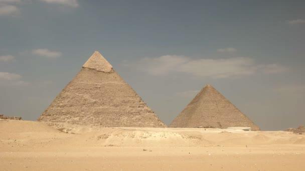 pyramids of khufu and khafre at giza near cairo, egypt