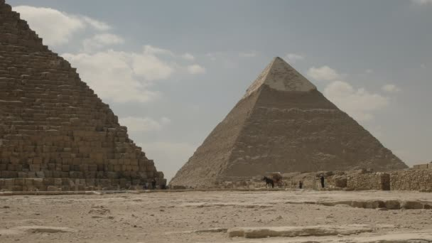 horse drawn carriage and the pyramid of khafre near cairo, egypt