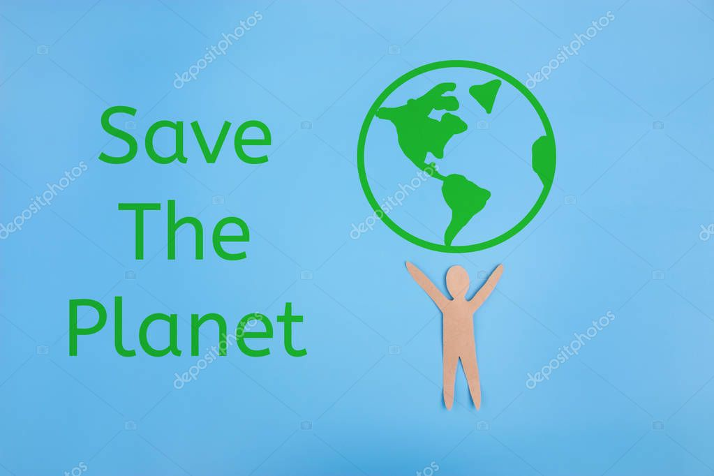 Save world save life concept. people holding the earth
