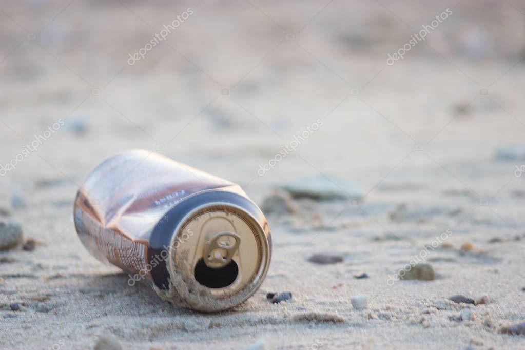 metal garbage on natural background. enviromnemtal pollution effect