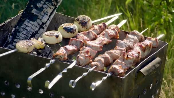 Maso grilované na jehle. Vaření šíš kebab. Vepřové maso připravené na ohni. 4k