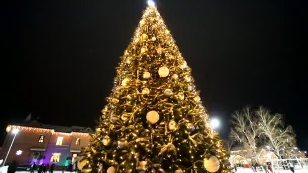 Vánoční stromeček zdobený světla a hračky na Vánoce nebo nový rok na ulici. Zpomalený pohyb. HD