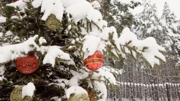 Vánoční stromeček pokryté sněhem, zdobené štrasovými hračky. Zpomalený pohyb. HD