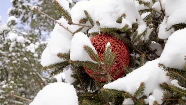 Zimní prázdniny. Close-up shot z větve vánočního stromku pokryté sněhem a zdobené štrasovými vánoční stromeček hračky na zasněžené ulici. Zpomalený pohyb. HD