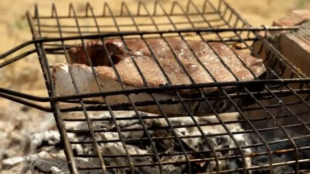 Nahaufnahme von kochendem Fisch. Marinierter Fisch auf dem Grill backen und braten. Thunfisch über Holzkohle gegrillt. Zeitlupe. hd