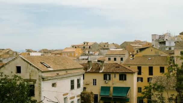 Panorama. Architektura města Kerkira. Řecké domy a budovy. Řecko. 4k