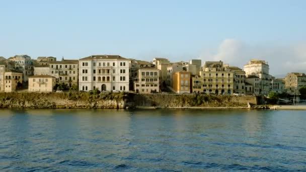 Malerische Landschaft der Korfu Küste vom Mittelmeer. Griechenland. 4k