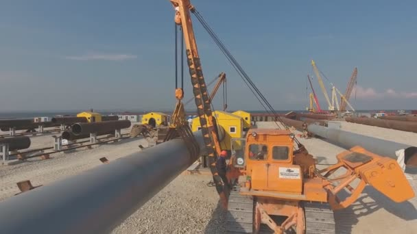 Welding piles for the Crimean bridge. assembly of bridge supports.