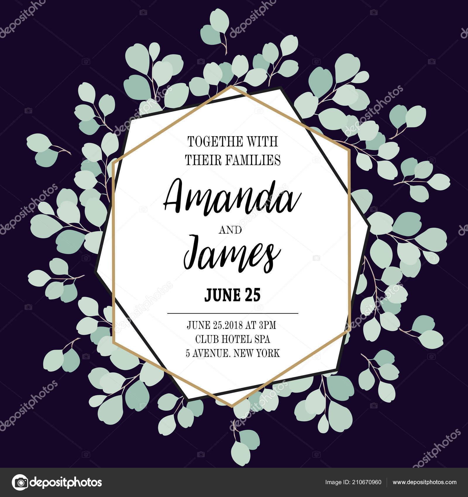 Vector Wedding Invite Invitation Date Floral Card Design