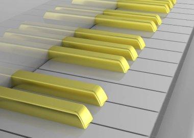 close up of Golden piano-keys