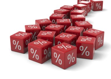 sale Discount Concept, 3d illustration of red cubes