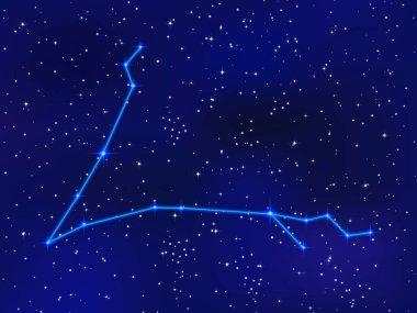 blue sky with shining stars, zodiac