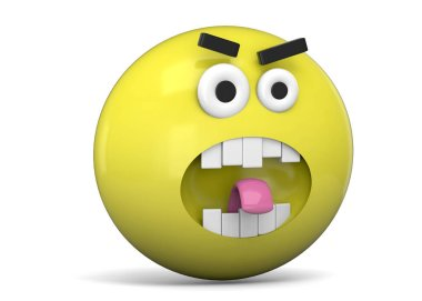 Angry yellow face Emoticon, 3D illustration