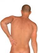 zadní pohled na člověka s bolestí, bolesti zad, 3d obrázek