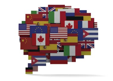 Globalization Concept, different flags, 3D illustration