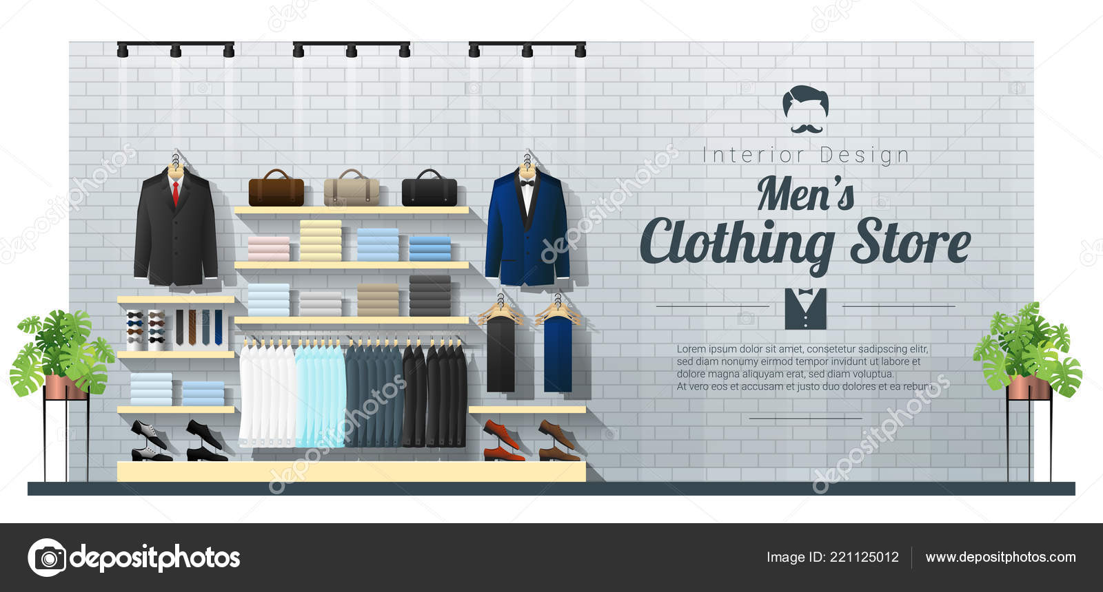 f32c177963f Interior Background Modern Men Clothing Store Vector Illustration — Stock  Vector
