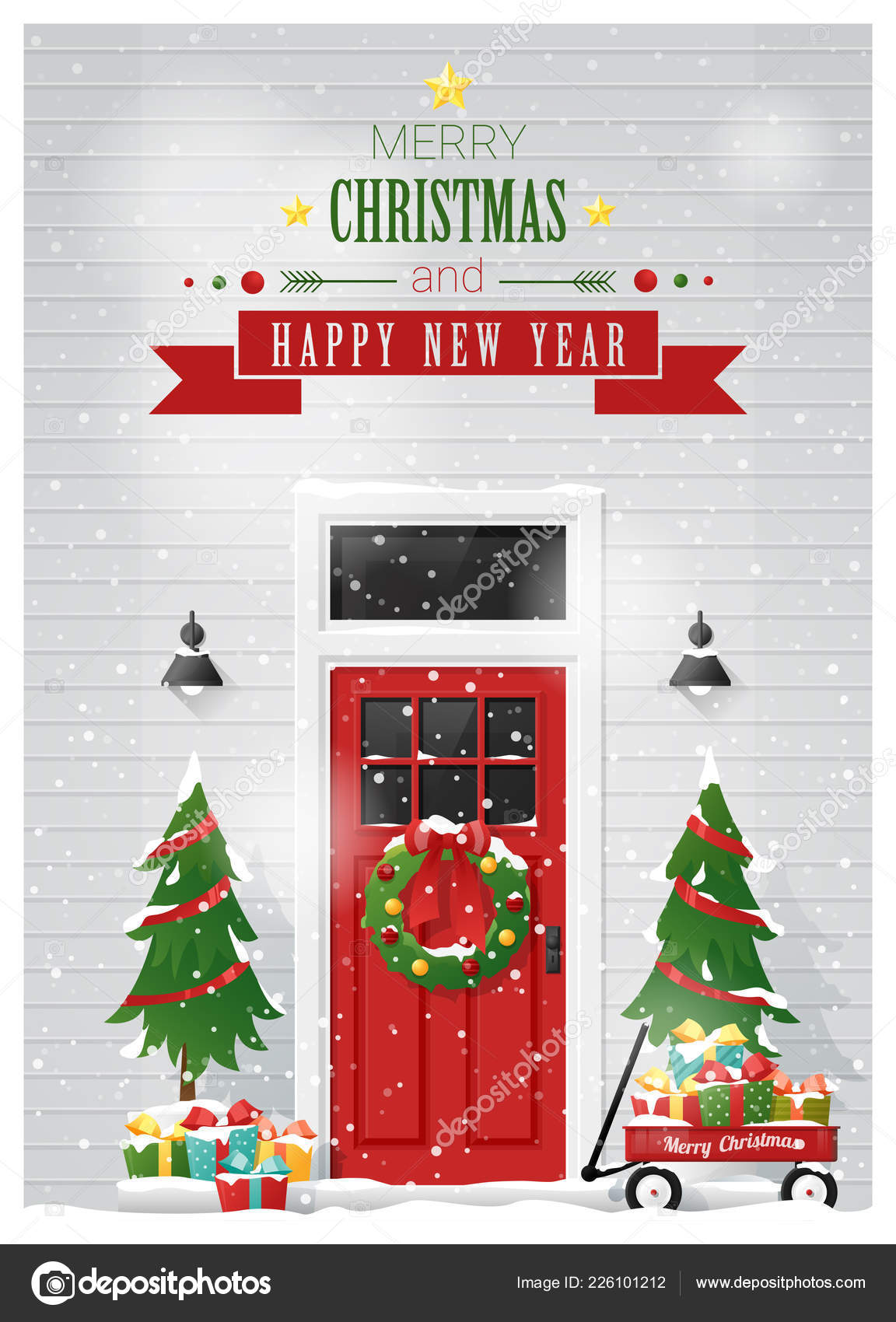 merry christmas happy new year background decorated christmas front door stock vector