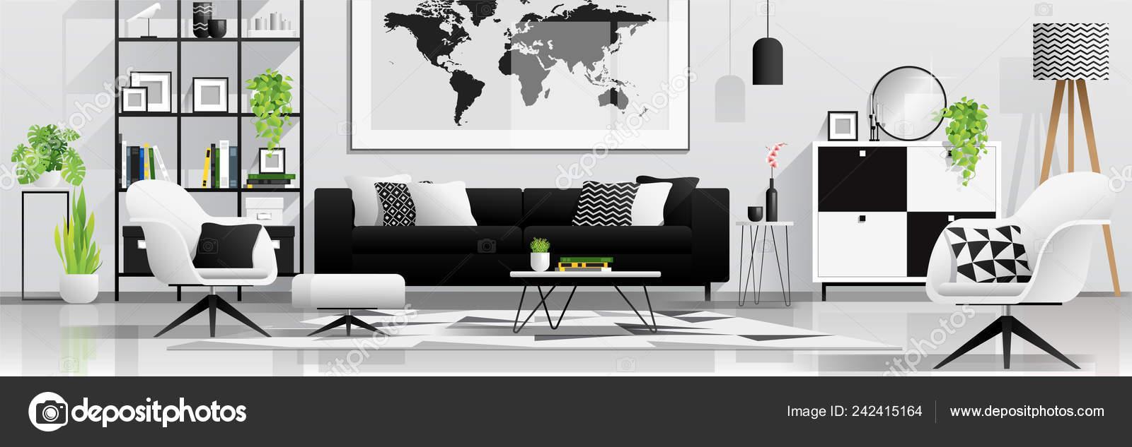 Fond Intérieur Avec Salon Dans Style Scandinave Moderne Noir Blanc