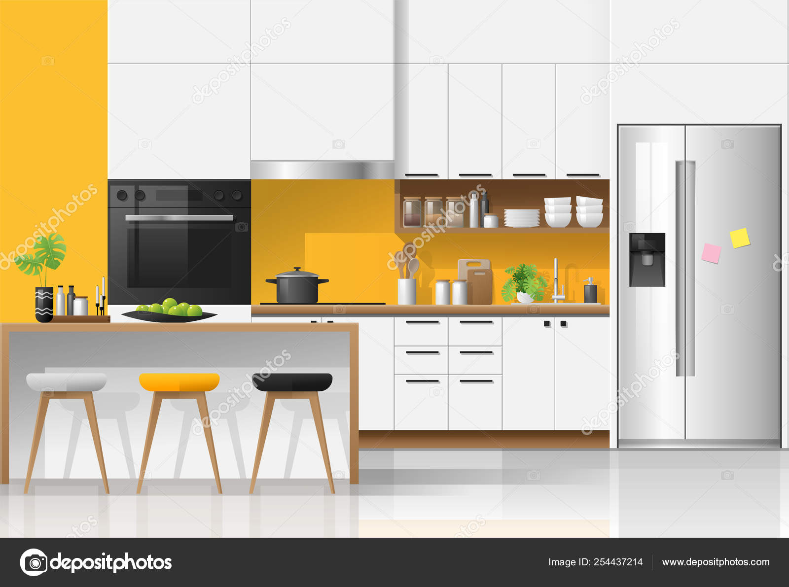 Modern colorful kitchen interior background , vector , illustration  3