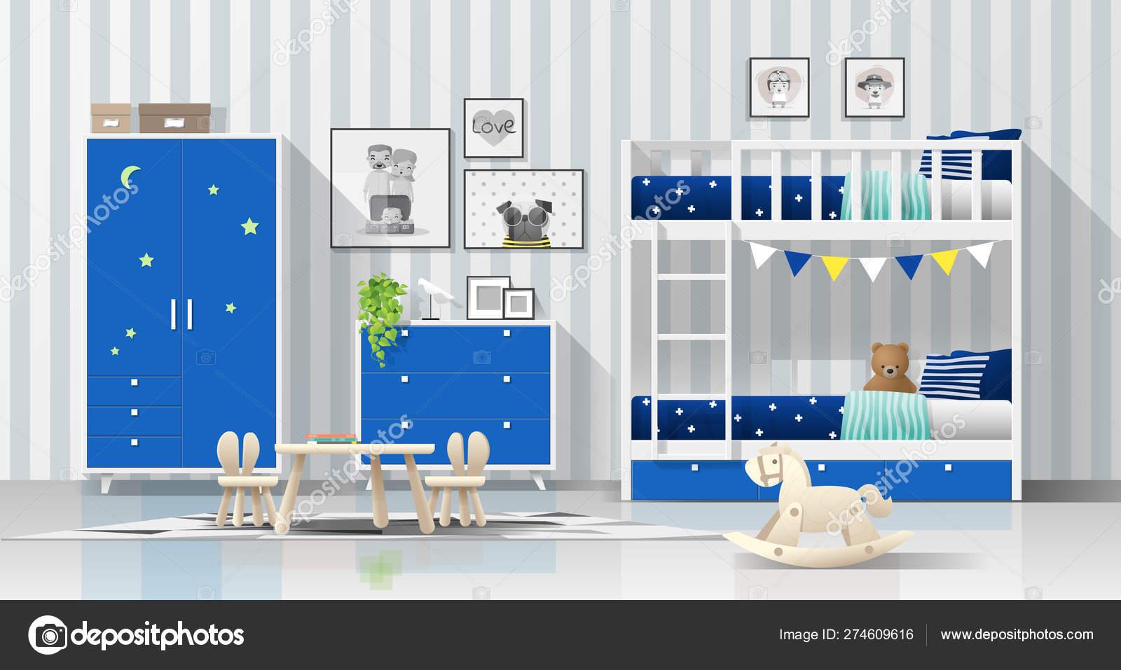 Interior Background Modern Blue Kids Bedroom Bunk Bed Vector Illustration Stock Vector C Littleartvector 274609616