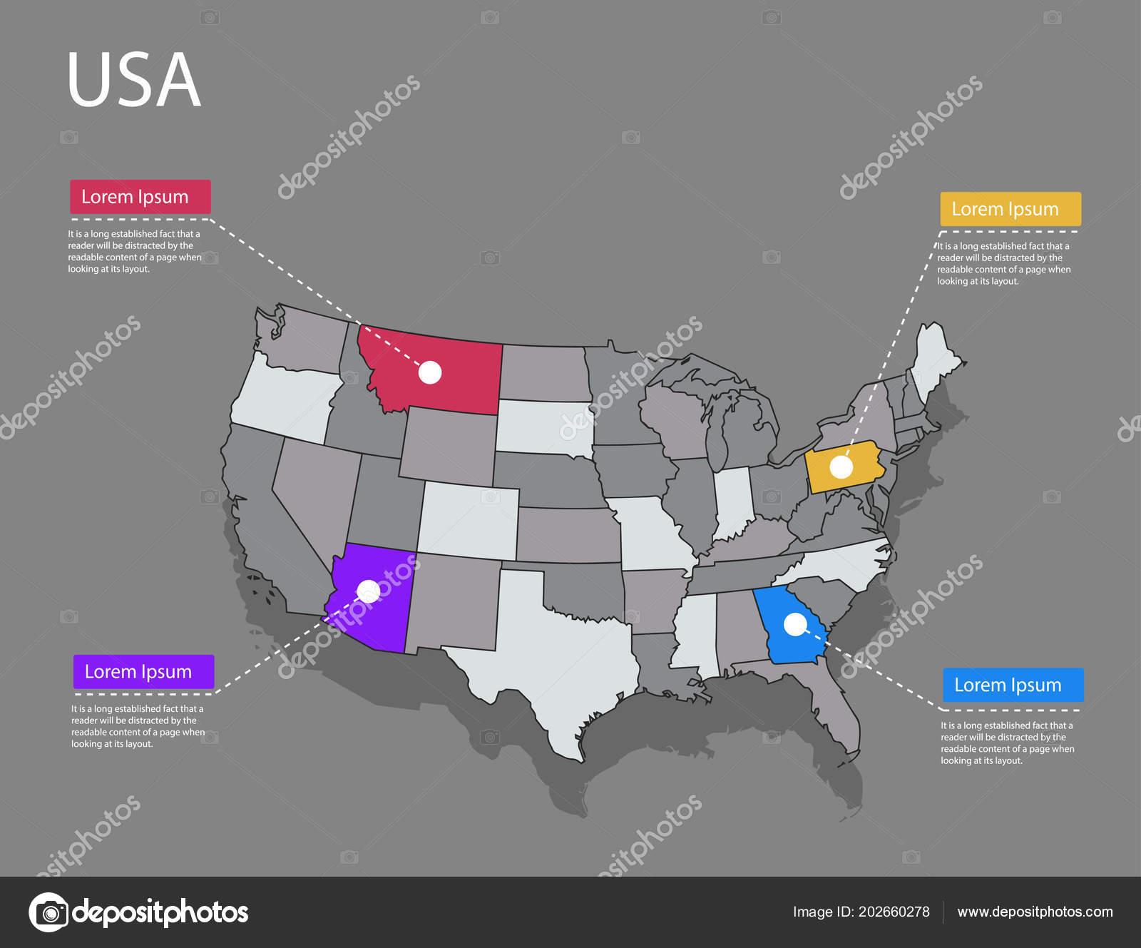 Cartina Stati Uniti D America Politica.Concetto Mappa Stati Uniti America Politica Usa Mappa