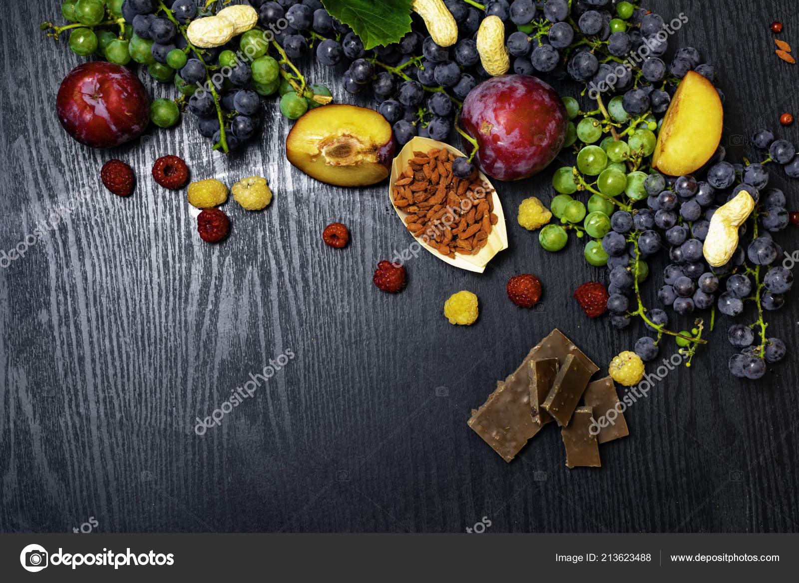 Fruits Health Food Rich Resveratrol Grapes Plums Goji Peanuts Cranberry Stock Photo C Dian4ikn Gmail Com 213623488