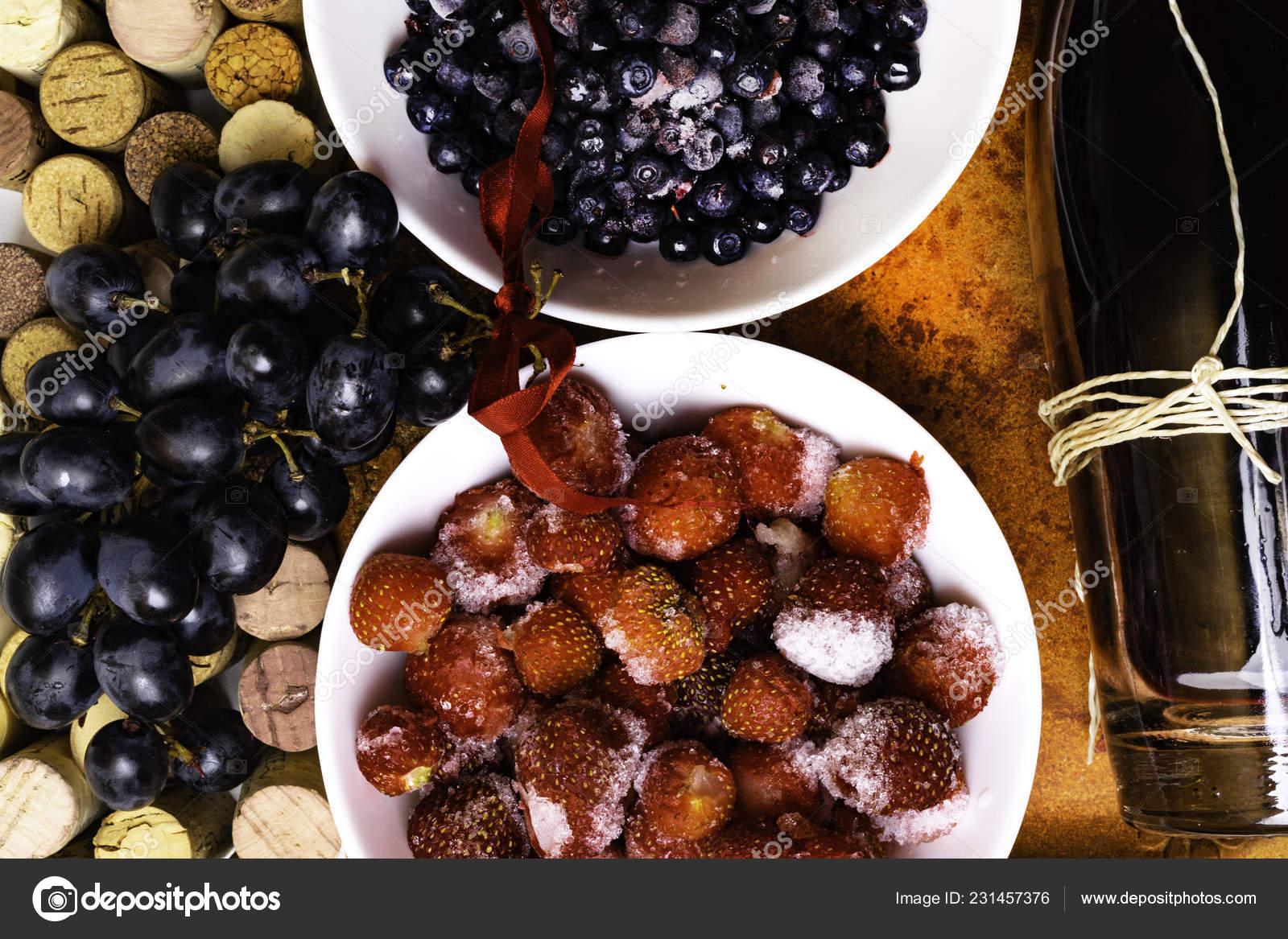 Strawberry Blueberry Grapes Wine Corks Red Wine Antioxidants Resveratrol Flavonoids Stock Photo C Dian4ikn Gmail Com 231457376