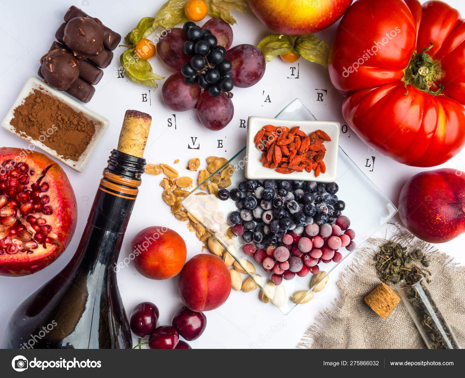 Food Rich With Resveratrol Grapes Pomegranate Green Tea Physalis Cranberry Cherry Tomatoes Goji Peanuts Blueberry Dark Chocolate Cocoa Red Wine Stock Photo C Dian4ikn Gmail Com 275866032