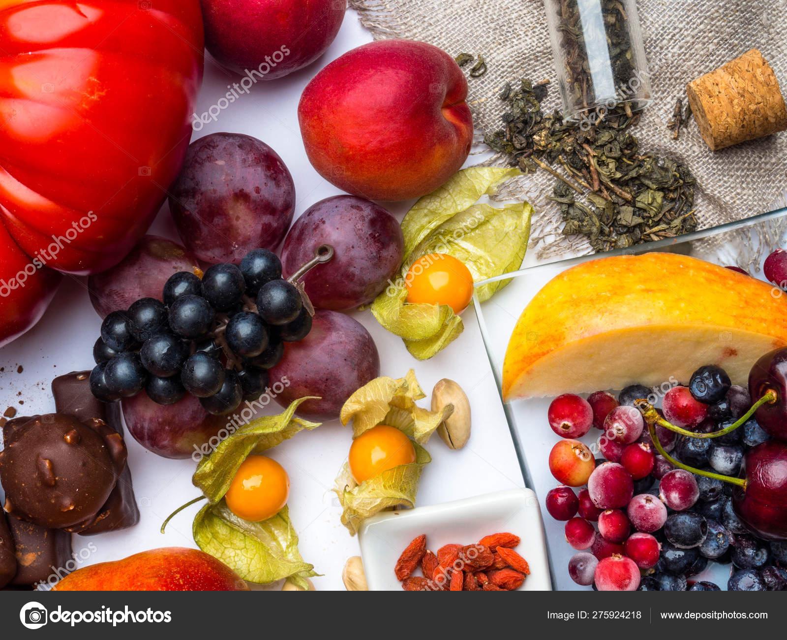 Antioxidants Resveratrol Food As Green Tea Grape Blueberry