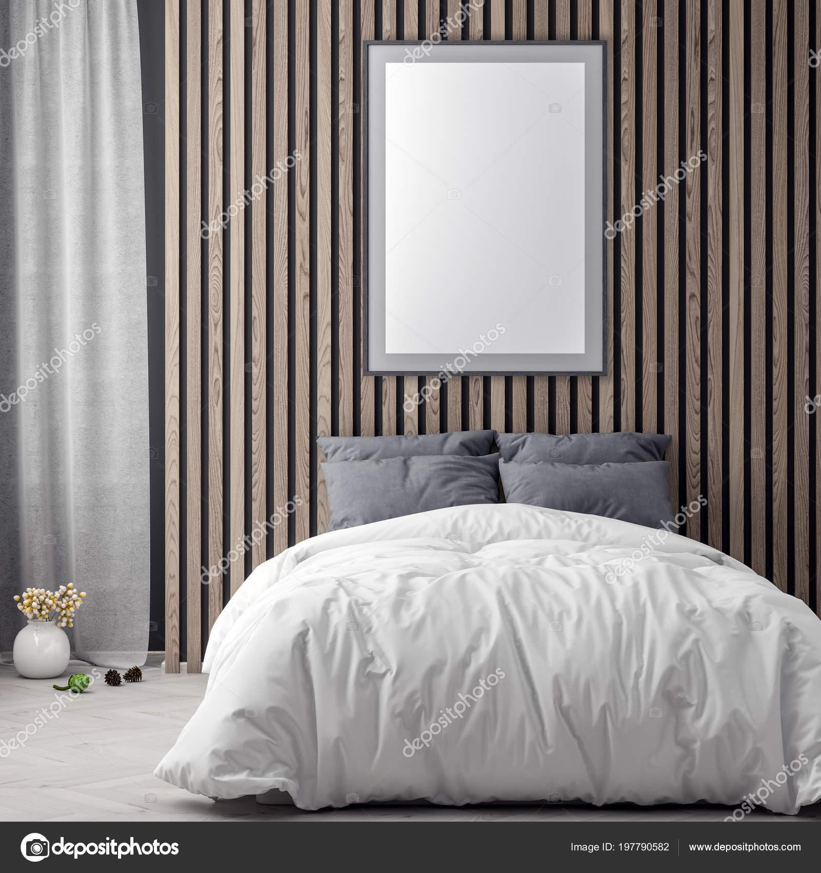 Mock up frame poster sfondo interni camera da letto in colori rosa e ...