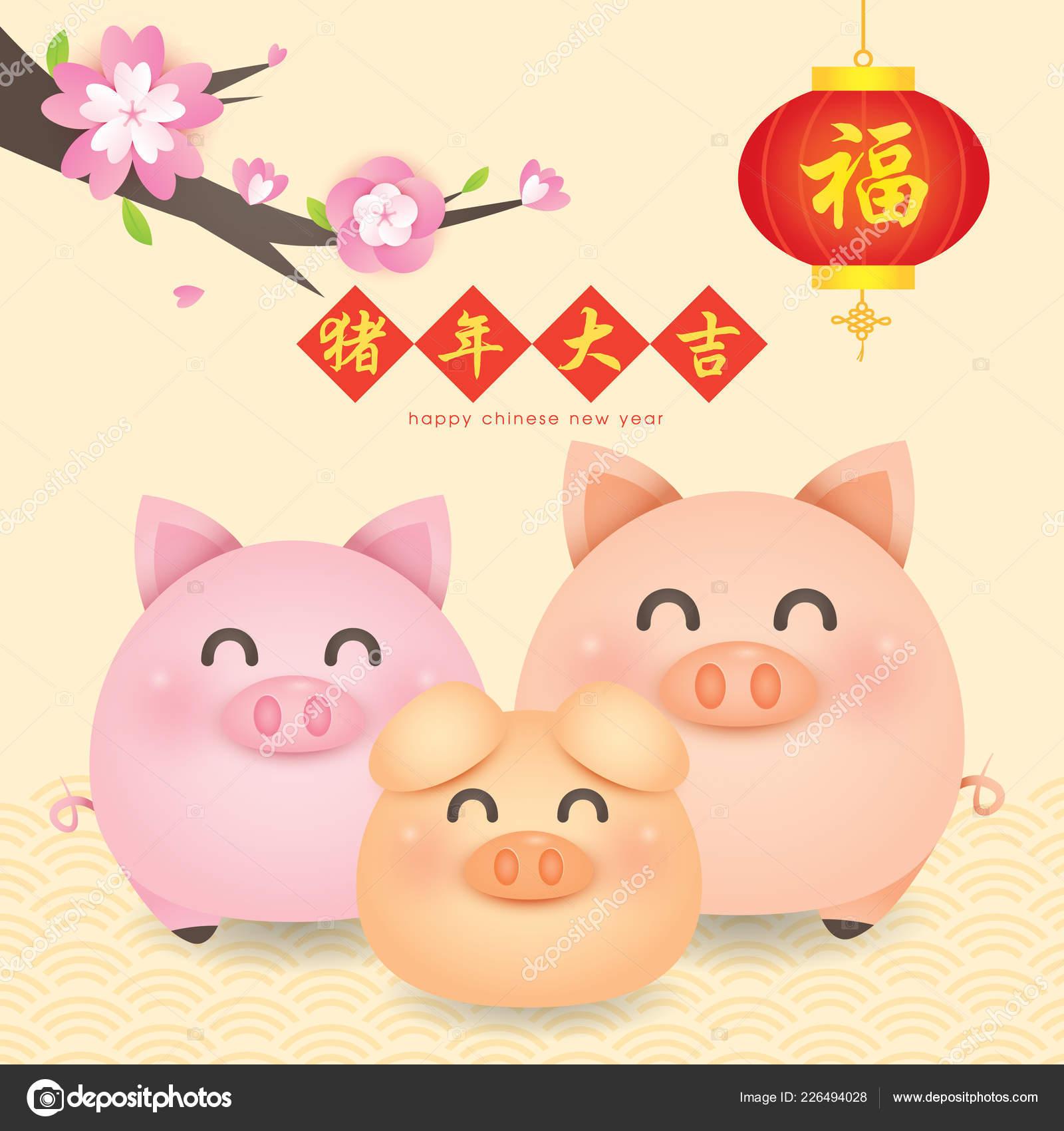 2019 Chinese New Year Year Pig Vector Cute Piggy Tangerine — Stock