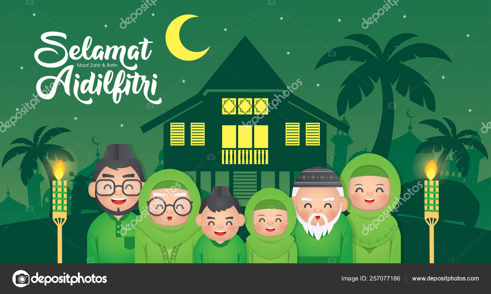hari raya aidilfitri important religious holiday celebrated muslims worldwide marks stock vector