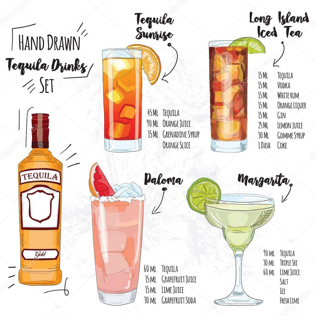 Hand Drawn Colorful Summer Tequila Cocktail Drink Set Tequila Sunrise Long Island Iced Tea Paloma Margarita Premium Vector In Adobe Illustrator Ai Ai Format Encapsulated Postscript Eps Eps Format