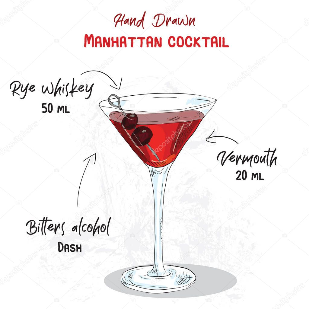 Hand Drawn Colorful Manhattan Summer Cocktail Drink Ingredients Handwritten Recipe Premium Vector In Adobe Illustrator Ai Ai Format Encapsulated Postscript Eps Eps Format