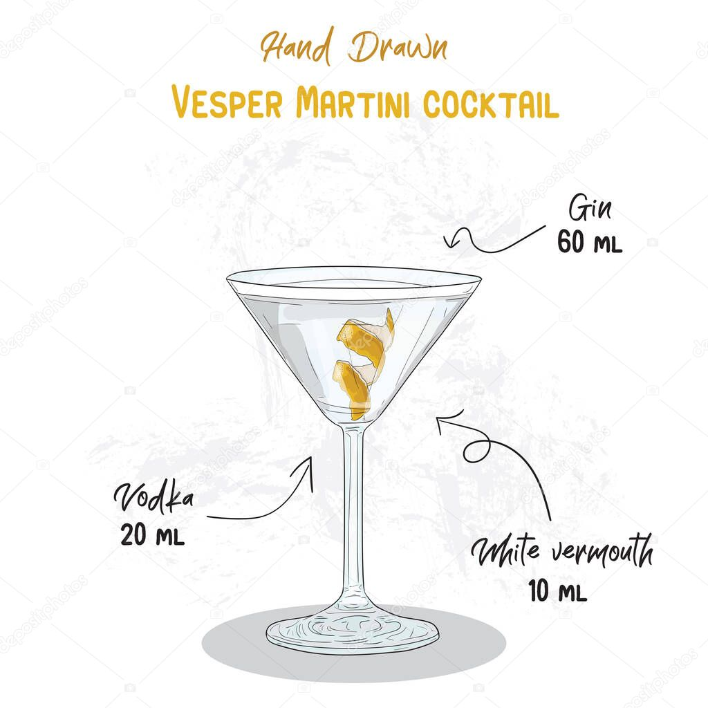 Hand Drawn Colorful Vesper Martini Summer Cocktail Drink Ingredients Handwritten Recipe Premium Vector In Adobe Illustrator Ai Ai Format Encapsulated Postscript Eps Eps Format