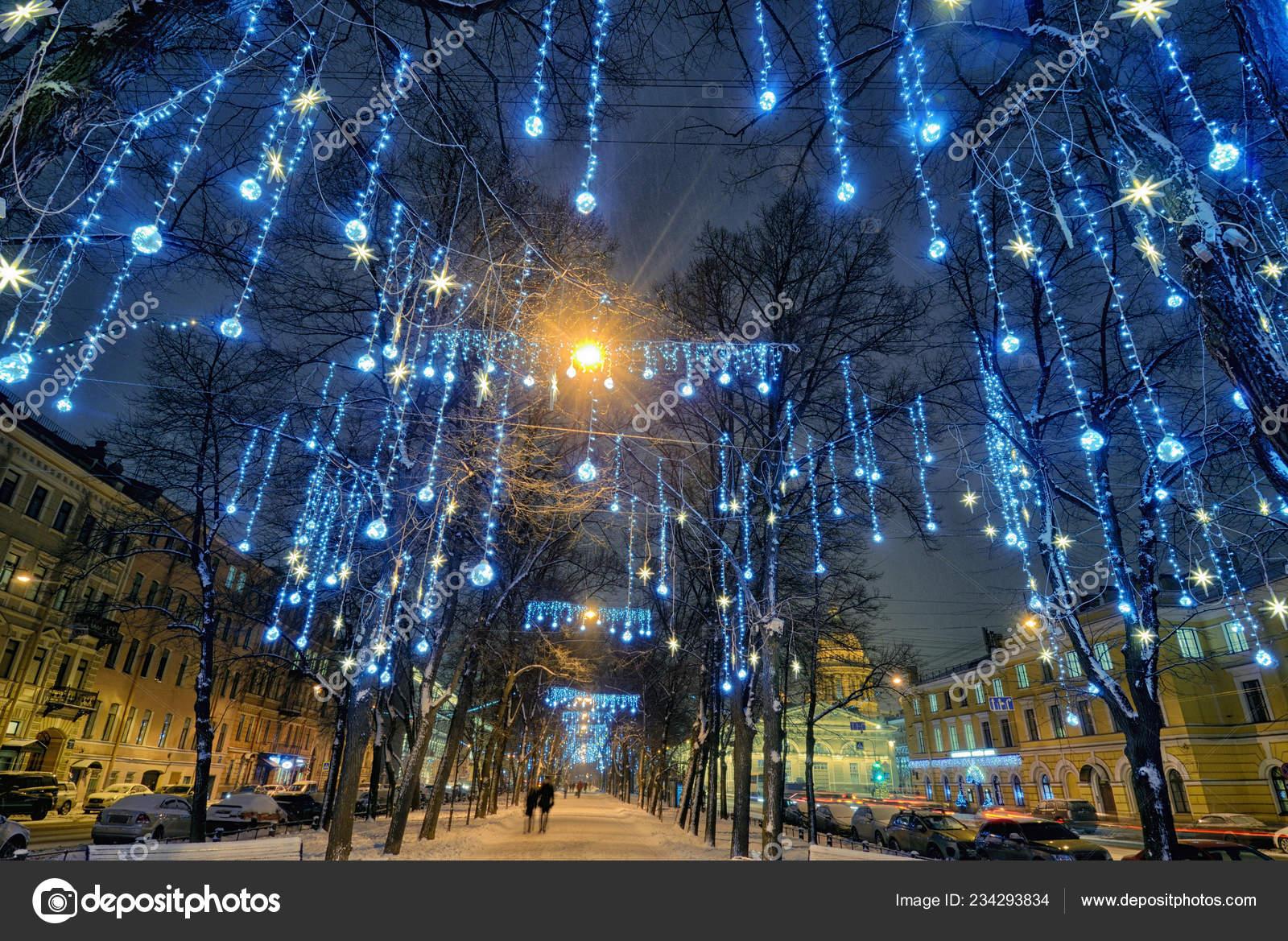 Luz Iluminaciones Los árboles Para Decorar Ciudad Antes