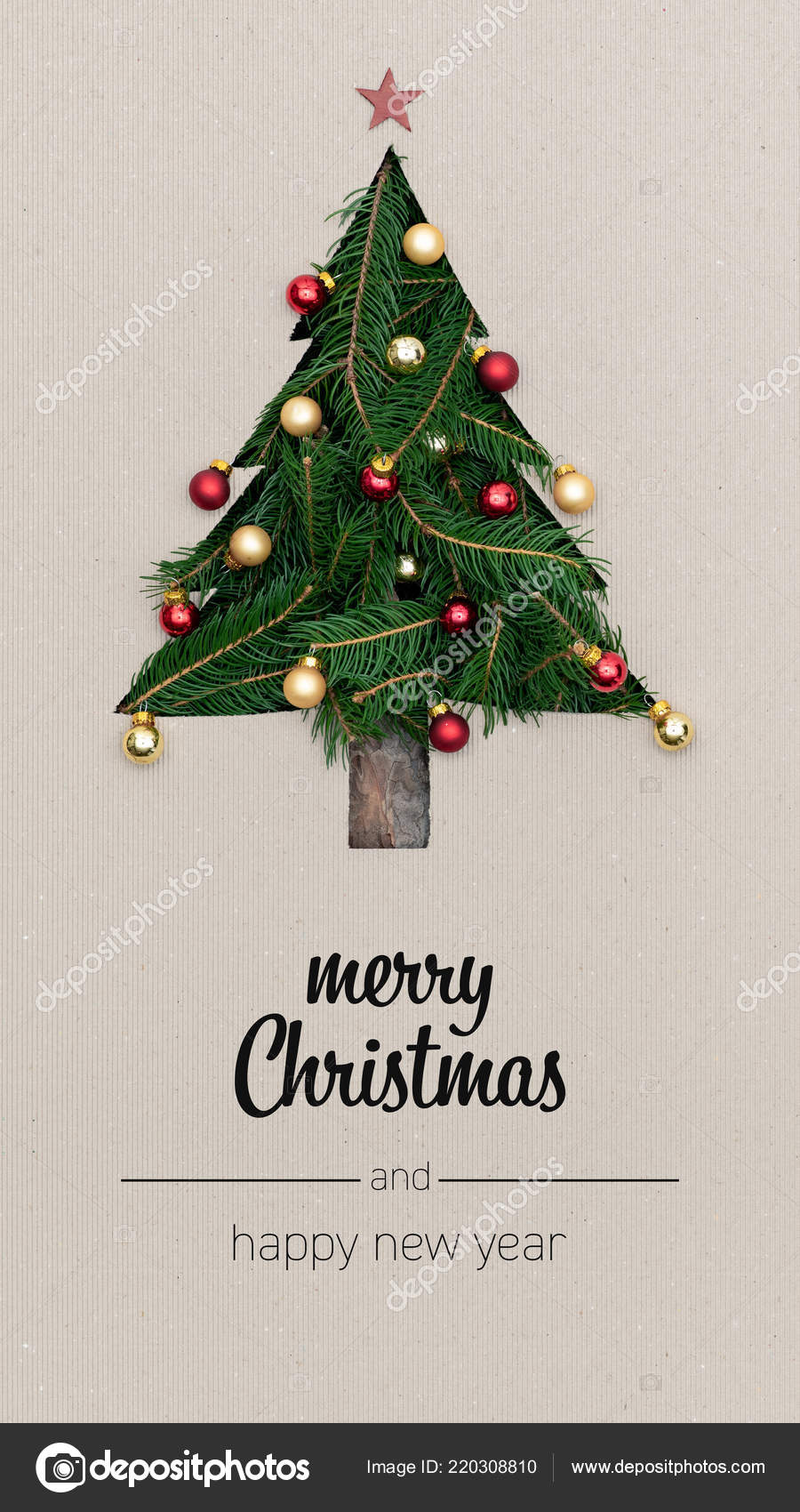 merry christmas and happy new year greetings in vertical top view cardboard with natural eco decorated