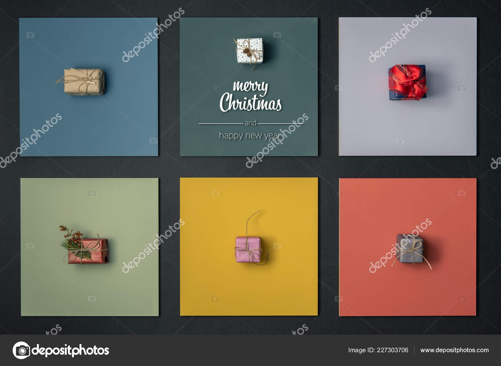 modern merry christmas and happy new year greetings in vertical top view colorful frames with gift