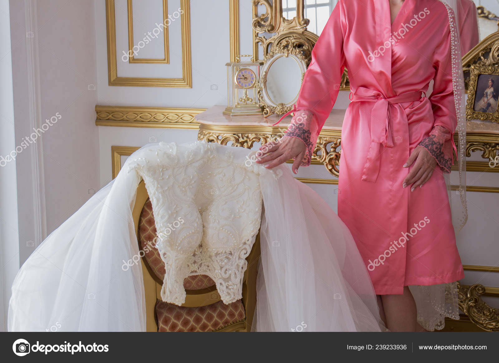 Bride In A Bathrobe Near Her Wedding Dress Stock Photo C Dyachenkoproduction Ukr Net 239233936