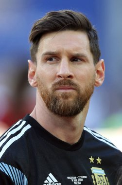 16.06.2018. Moscow, Russian: Leonard Messi before  the  match Fifa World Cup Russia 2018, Group D, football match between Argentina v Iceland in Spartak Stadium in Moscow.