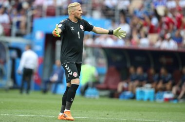 26.06.2018. MOSCOW, Russian:KASPER SCHMEICHEL  in action during the Fifa World Cup Russia 2018, Group C, football match between DENMARK V FRANCE in Luzhniki Stadium MOSCOW.